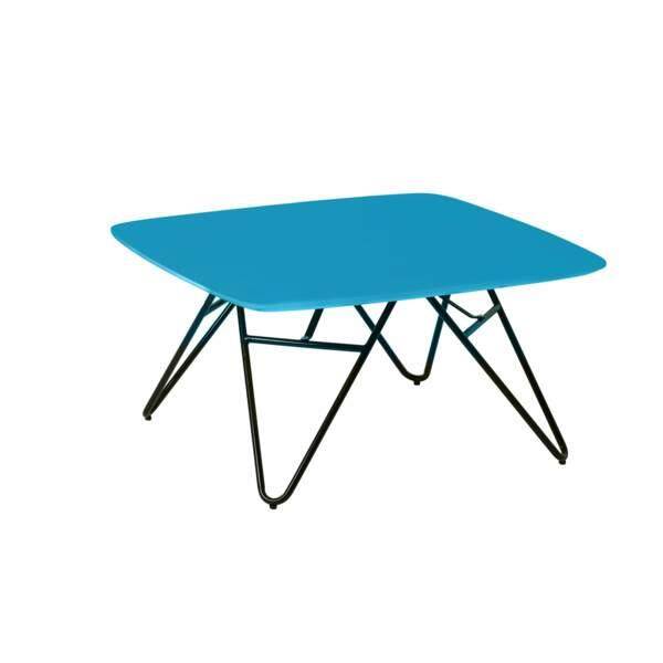 Table basse plateau bleu