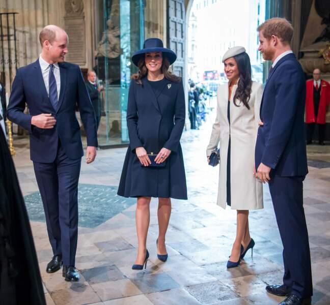 Le prince William, Kate Middleton, Meghan Markle et le prince Harry