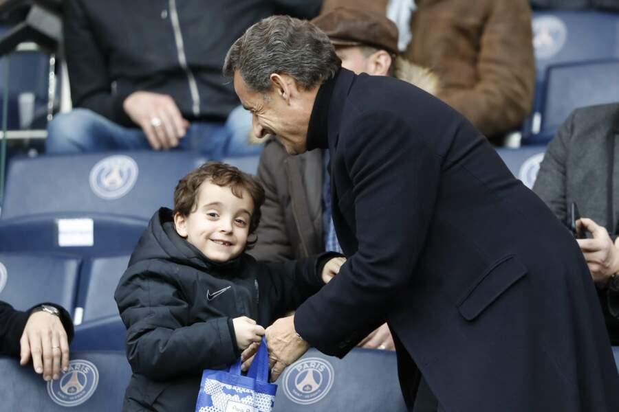 Nicolas Sarkozy et Solal au parc des Princes