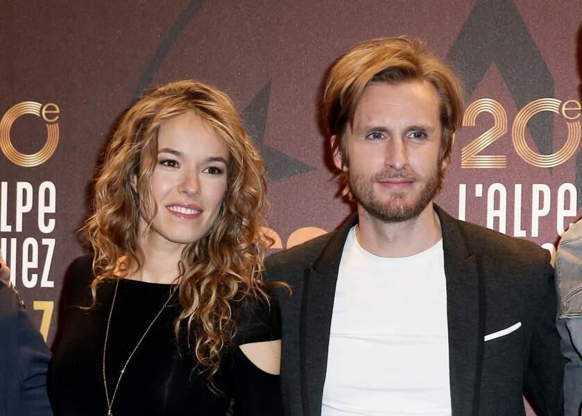 Philippe Lacheau et sa compagne Elodie Fontan au festival de l'Alpes d'Huez pour le film Alibi.com en janvier 2017.