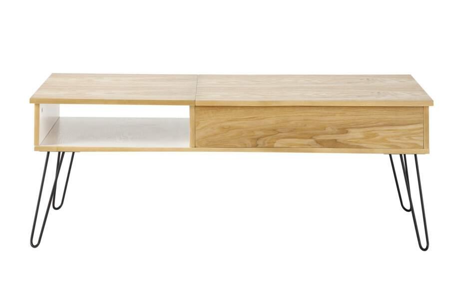 Table basse bois et métal