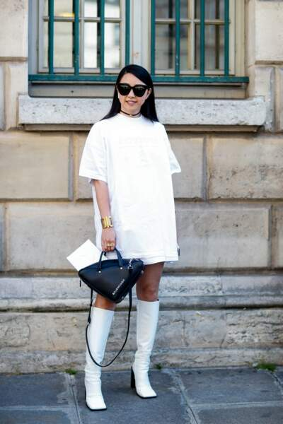 Street style femme : look blanc graphique