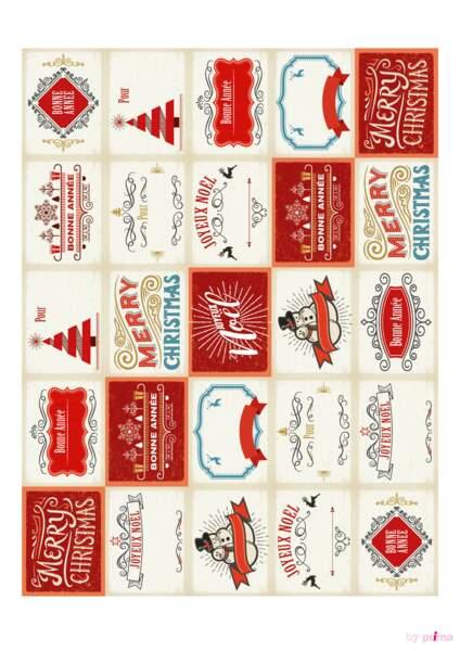 Planche étiquettes rouges