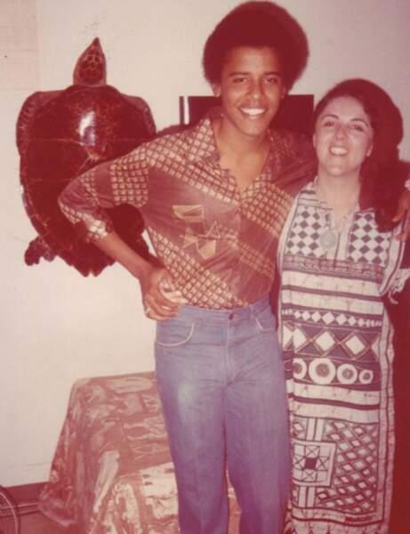 Barack Obama et sa mère pendant ses études.