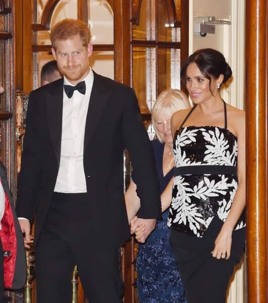 Le prince Harry et Meghan Markle lors de la soirée Royal Variety Performance à Londres, le 19 novembre 2018