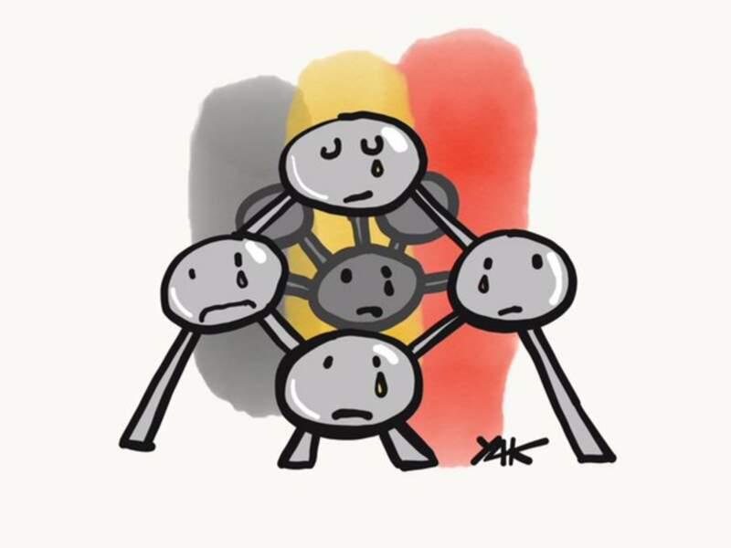 Même l'Atomium pleure sous les crayons de l'artiste Yak