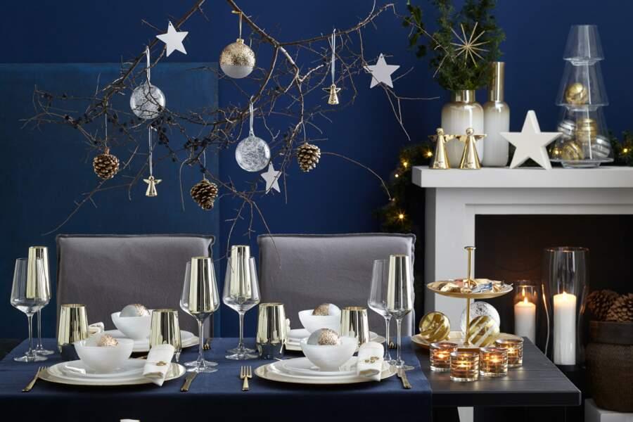 Table de Noël bleu et or