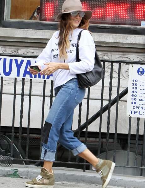 Sarah Jessica Parker et son jean patchwork