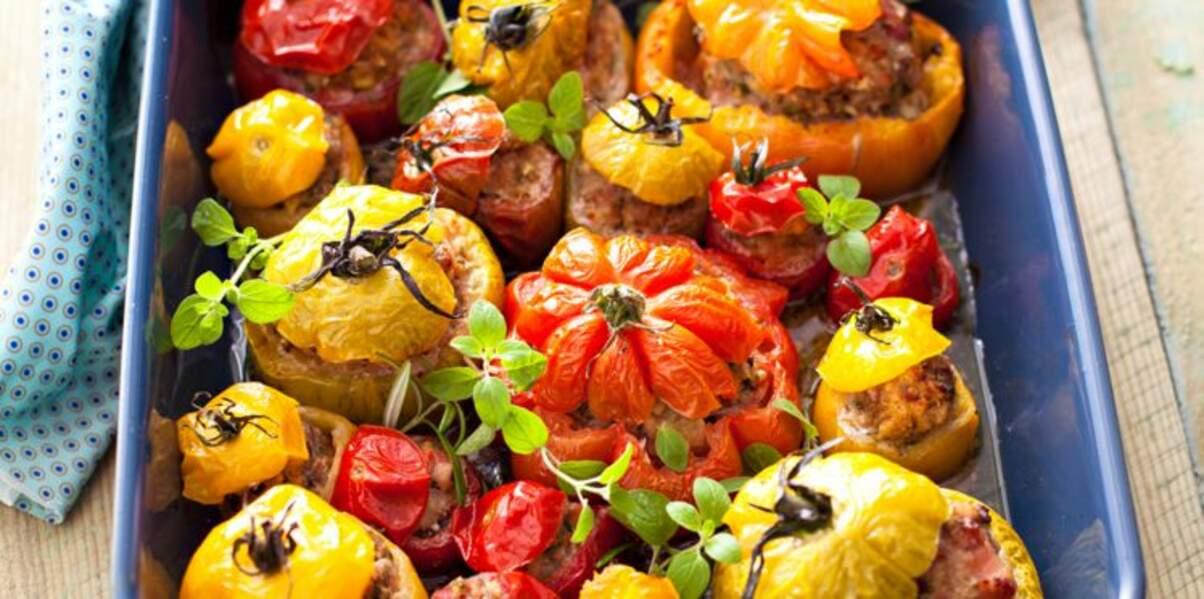 Tomates farcies de toutes les couleurs