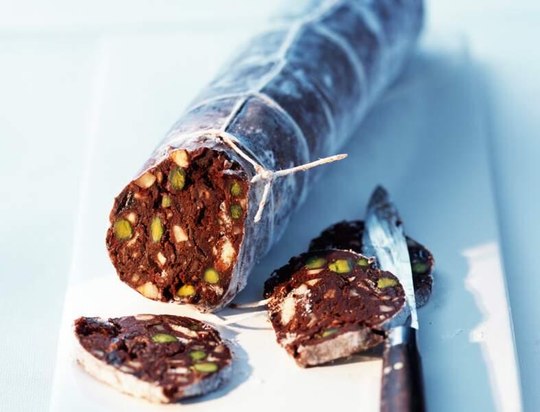 Saucisson de chocolat aux pistaches