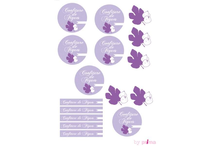 Etiquettes violettes pour confitures de figues
