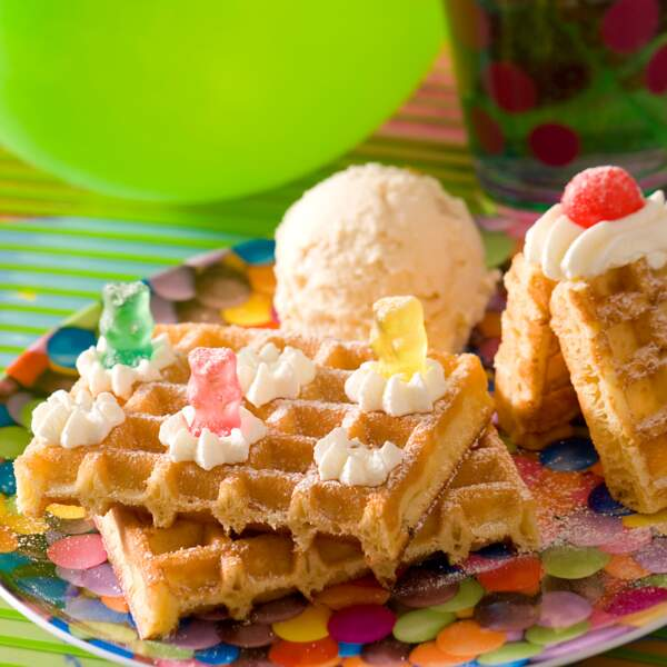 Gaufre glace et chantilly