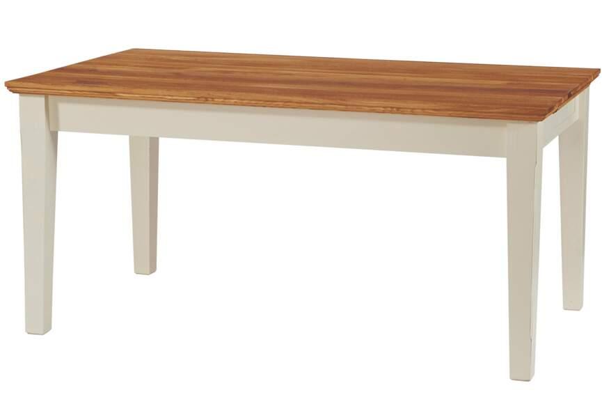 Table avec allonge en MDF, plateau en chêne laqué