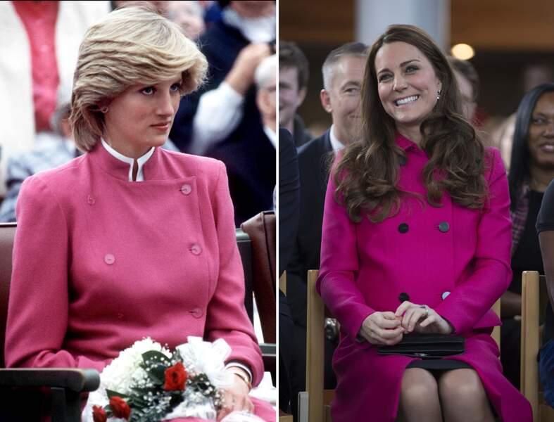 ...présentation officielle en manteau rose fuchsia...