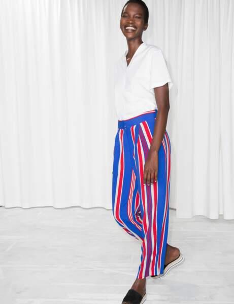 Pantalon : bleu, blanc, rouge