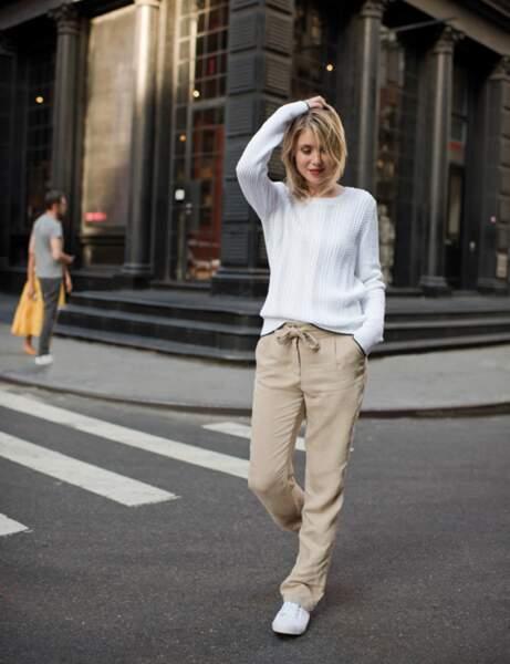 Pantalon tendance : pantalon noué à la taille