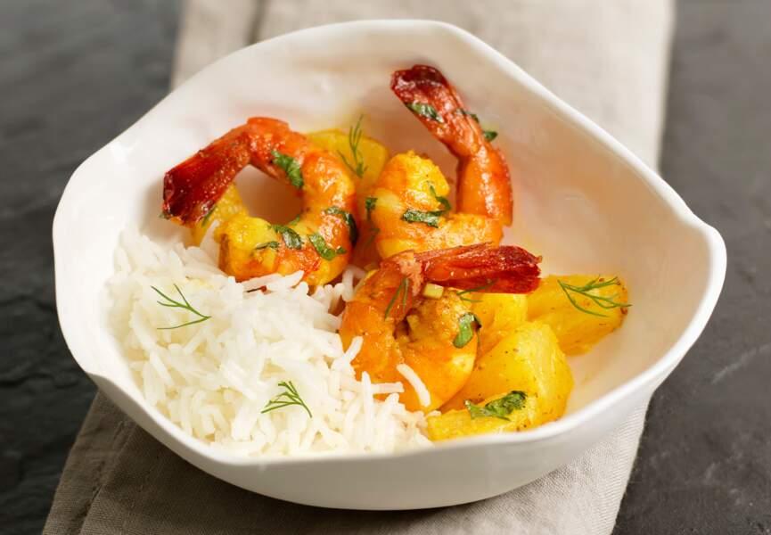Colombo à l'antillaise de crevettes à l'ananas