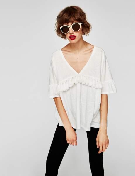 T-shirt blanc : ethnique