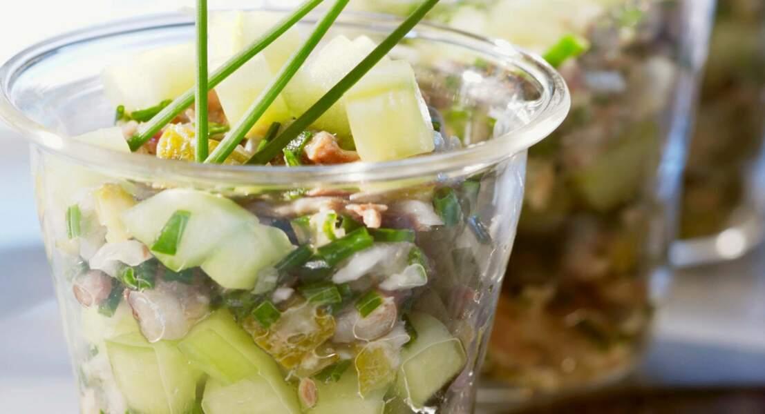 Petite salade de sardines crues au concombre