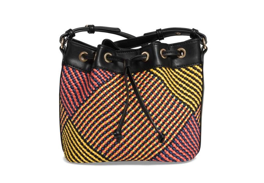 Tendance sac 2018 : sac seau à tressage multicolore