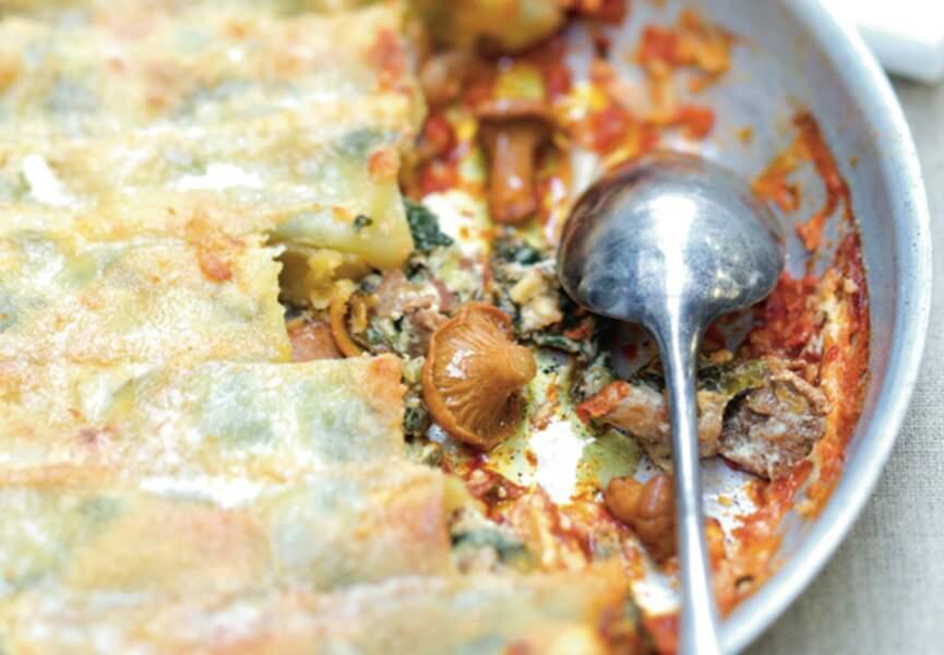 Cannellonis aux girolles, épinards et ricotta