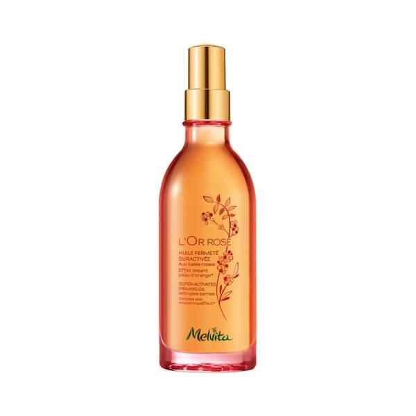 Or Rose - Huile Fermeté Suractivée, Melvita, flacon 100 ml, prix indicatif : 29,50 €
