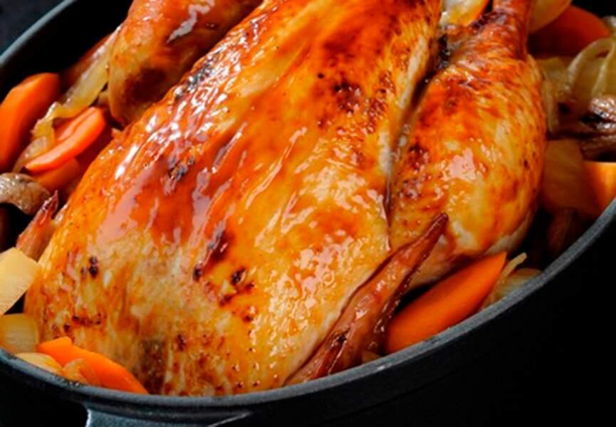 Menu light - Poulet rôti aux épices de Noël, légumes et châtaignes rôtis