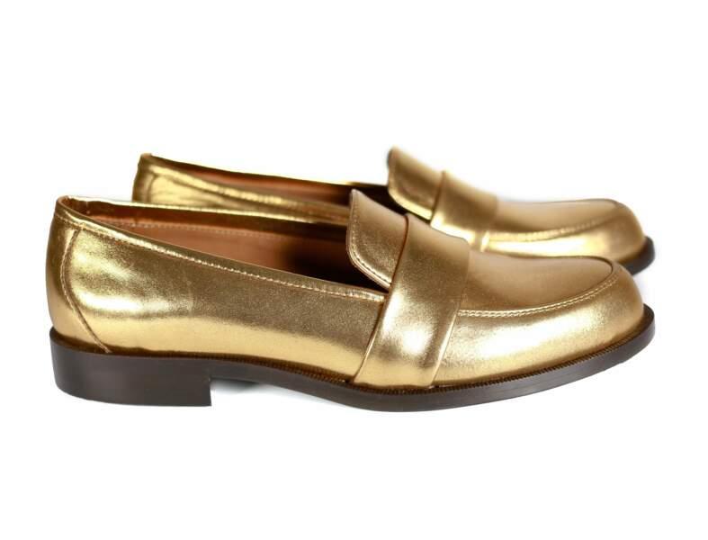 Chaussures de soirée : les mocassins dorés