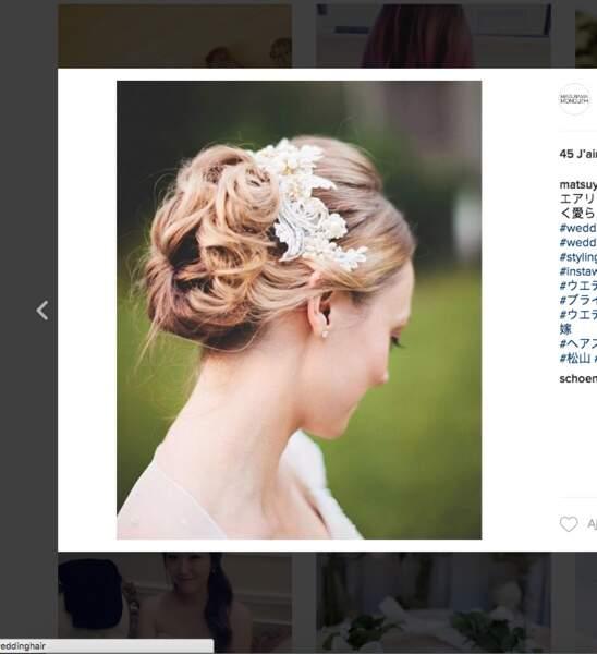 Coiffure de mariage pour cheveux longs : le chignon accessoirisé