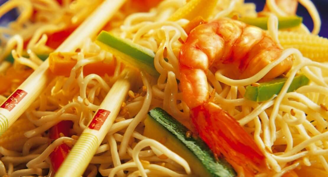 Pâtes chinoises aux crevettes