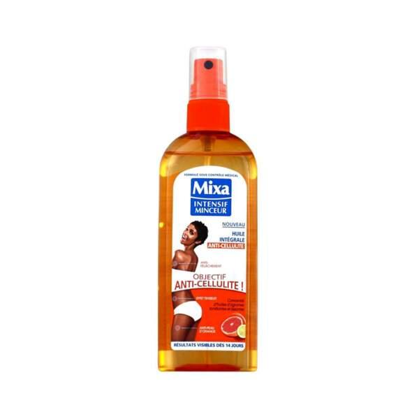 Huile Intégrale Anti-Cellulite, Mixa, flacon 150 ml, prix indicatif : 12,25 €