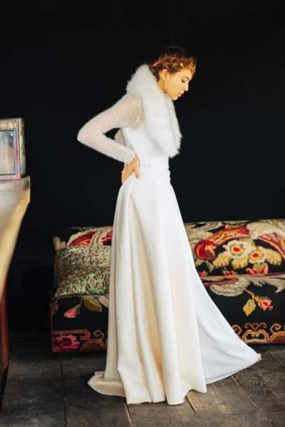 Mariage en hiver : Robe de mariée Lens + Trevor par Maison Floret