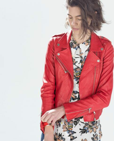 Le blouson en cuir de Zara