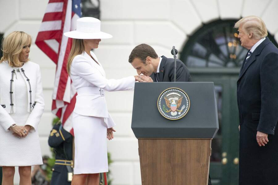 Brigitte Macron, Melania Trump, Emmanuel Macron et Donald Trump