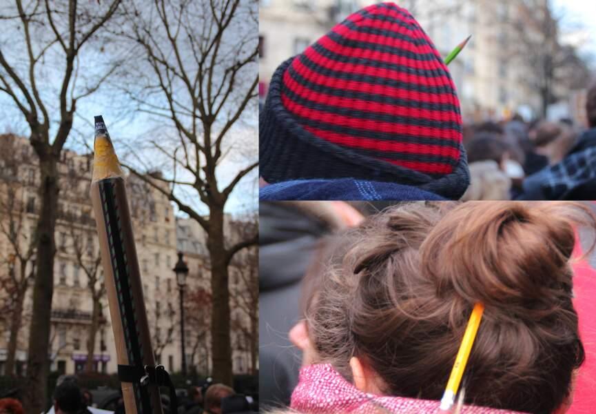 Des crayons partout pour un hommage aux dessinateurs...