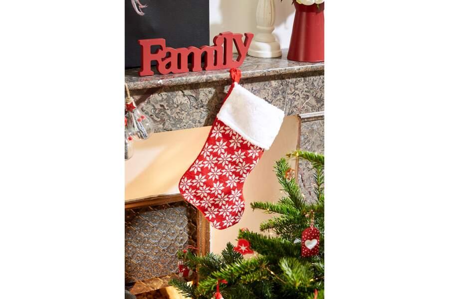 Chaussette de Noël rouge et blanche motif flocons