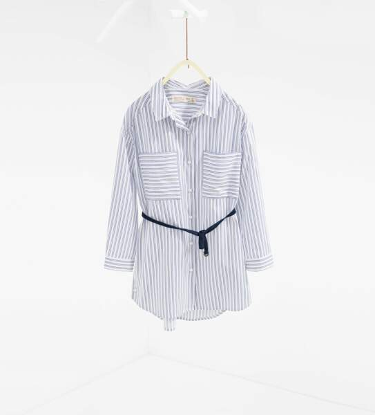 Chemise longue avec ceinture, Zara, 19,95€