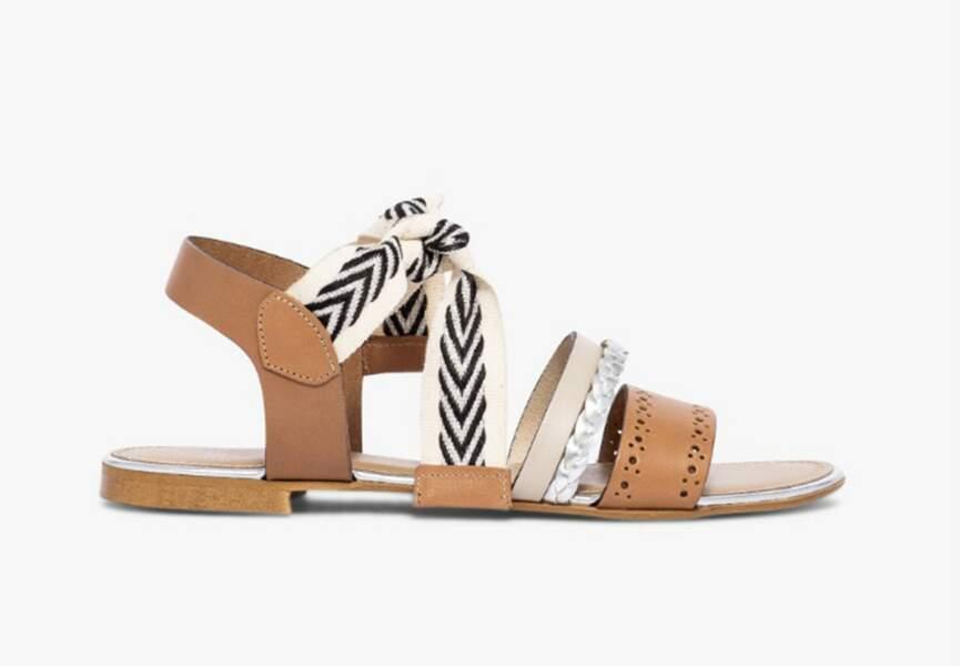 Sandales plates argentées cuir et aspect raphia argenté