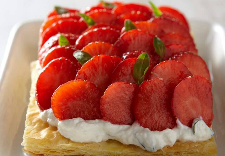 Tarte feuilletée aux fraises marinées