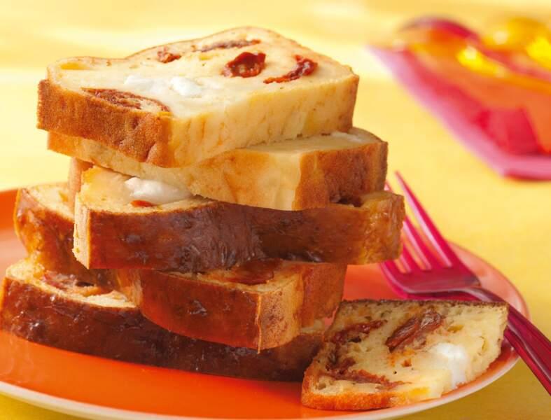 Cake aux tomates séchées, mozarella et chorizo