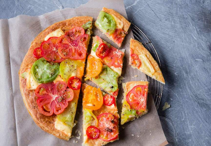 Tarte sans tour aux tomates et raclette parfumée à l'origan