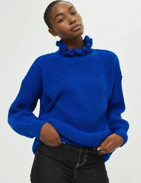 Col montant : le pull fantaisie