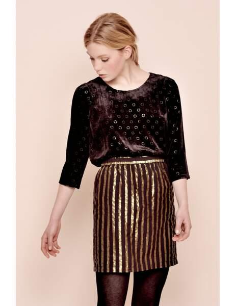 Tenue de soirée : Top velours et jupe brillante