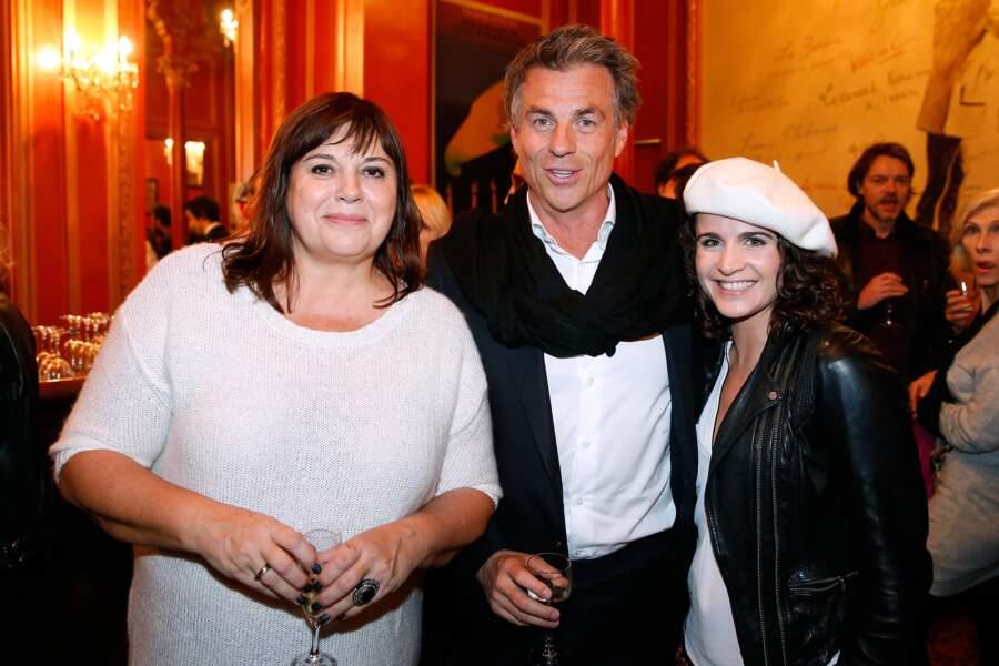 """Michèle Bernier au théâtre Antoine pour le spectacle """"Je préfère qu'on reste amis"""" en 2014 avec Bruno Gaccio."""