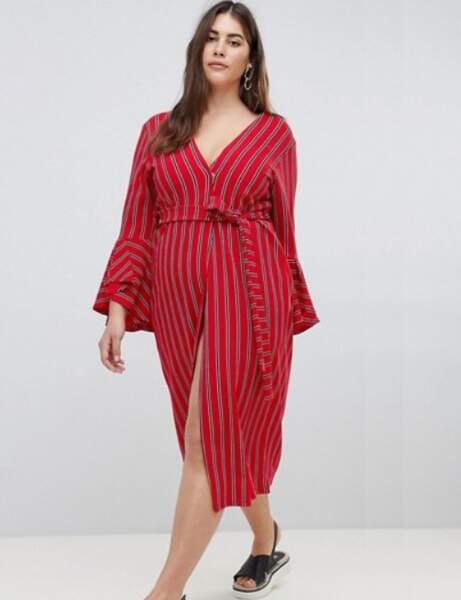 Mode grande taille : la robe portefeuille rayée