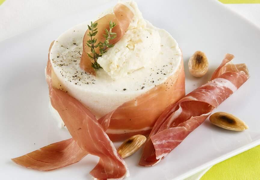 Crème bavaroise à la ricotta, mozzarella aux amandes grillées