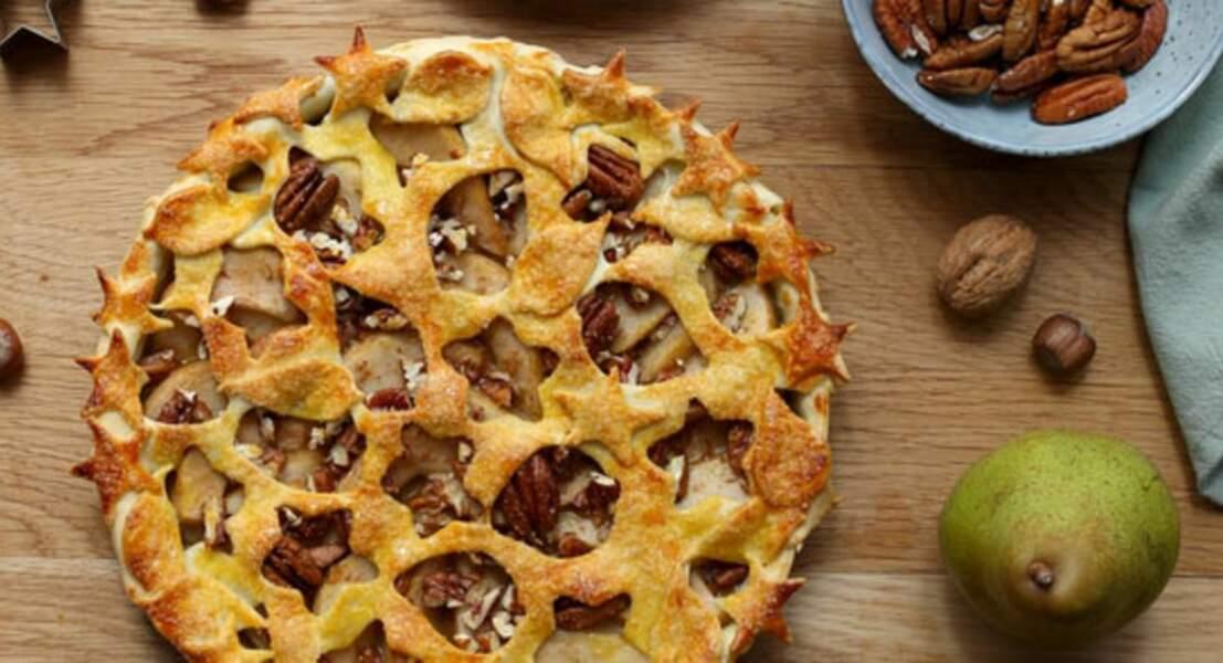 Tarte aux poires, caramel et noix de pécan