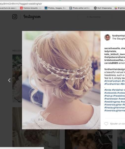 Coiffure de mariage pour cheveux longs : la couronne motif coeurs
