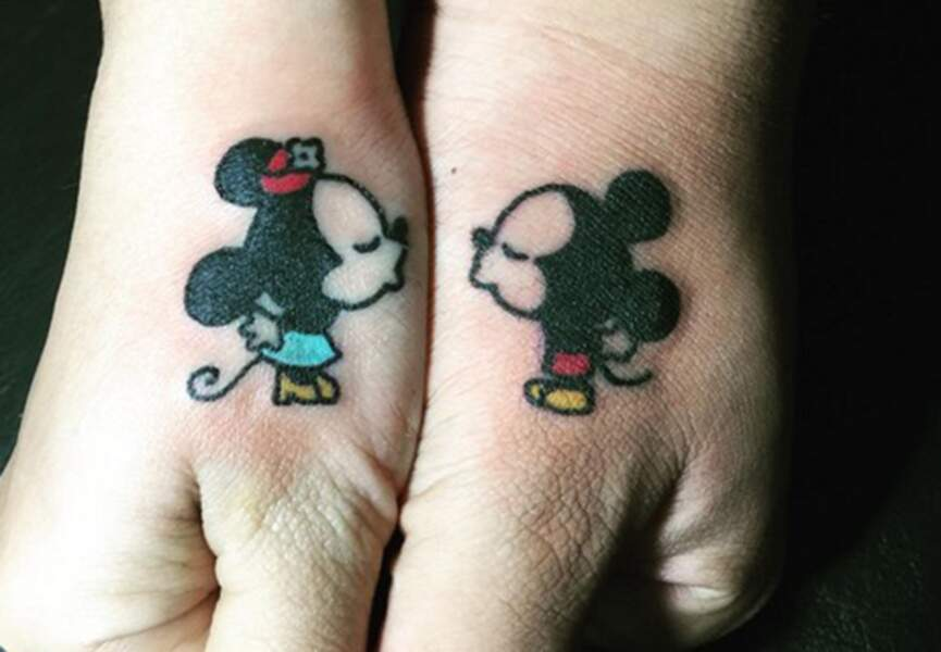 Tatouages couple Mickey et Minnie