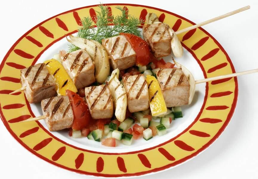 Brochettes de thon blanc